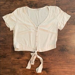 Cropped tie blouse